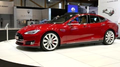 Tesla Model S full electric luxury car - stock footage