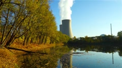 Nuclear power plant next the pond and its reflection in the water in Germany Stock Footage