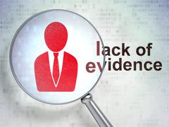 Law concept: Business Man and Lack Of Evidence with optical glass Stock Illustration