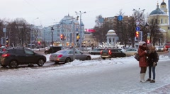 People and cars on Nikitsky Boulevard in Moscow Stock Footage