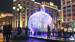 Stock Video Footage of view of Tverskaya street from Manezhnaya square in winter Christmas evening