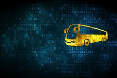 Travel concept: Bus on digital background Stock Illustration