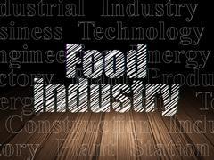 Manufacuring concept: Food Industry in grunge dark room Stock Illustration