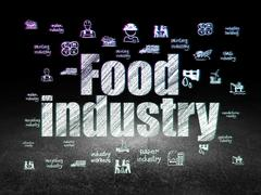 Manufacuring concept: Food Industry in grunge dark room - stock illustration