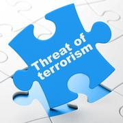 Politics concept: Threat Of Terrorism on puzzle background - stock illustration