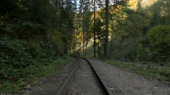 Stock Video Footage of View of a beautiful curve on Mocanita railway near trees and the valley