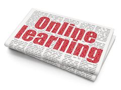 Stock Illustration of Studying concept: Online Learning on Newspaper background