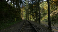View of curve on Mocanita railroad near the valley and trees Stock Footage