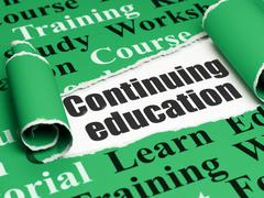 Stock Illustration of Studying concept: black text Continuing Education under the piece of  torn paper