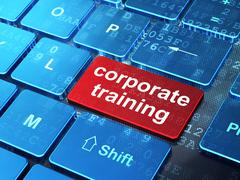 Education concept: Corporate Training on computer keyboard background - stock illustration