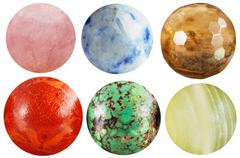 Set of round beads natural mineral gem stones Stock Photos