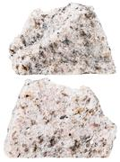 two pieces of Schist mineral stone isolated - stock photo