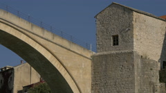Stari Most and its southwestern tower, Tara in Mostar Stock Footage