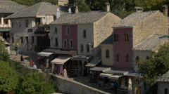 View of a narrow street seen from a high angle in Mostar, Bosnia-Herzegovina - stock footage