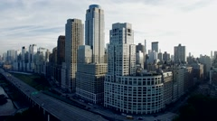 Aerial view of new york city skyline. cityscape metropolis. Shot on Red Epic Stock Footage