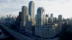 establishment shot of city skyline metropolis district. shot on red epic - stock footage