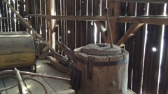Amish Antique Butter Churning Tool Stock Footage
