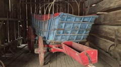 Old West Establishing Shot Winter Time - Carriage in Barn Stock Footage