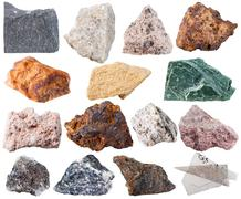 Set of 15 mineral stones isolated Stock Photos