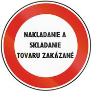 Road sign used in Slovakia - No loading and unloading of goods - stock illustration