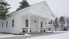 Old West Establishing Shot Winter Time - town hall government Stock Footage