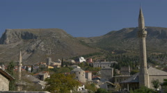 Beautiful cityscape of Mostar on a sunny day Stock Footage
