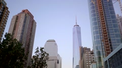 One world trade center and freedom tower in new york city Stock Footage