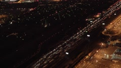 Aerial view of illuminated airport terminal station at night. shot on red epic Stock Footage