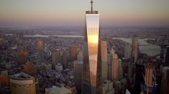 aerial view of one world trade center and freedom tower in new york city - stock footage