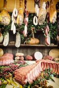Various meat products at the food market - stock photo