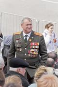 Russian colonel on celebration at the parade on annual Victory Day - stock photo