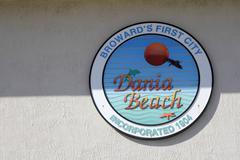 Broward s First City Dania Beach Sign - stock photo