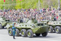 Russian military transport at the parade on annual Victory Day - stock photo