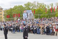 Procession of the people in Immortal Regiment on annual Victory Day - stock photo