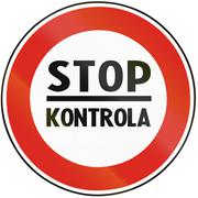Road sign used in Slovakia - Stop for check - stock illustration