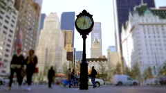 Time lapse of people walking through the city. watch clock background Stock Footage