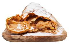 traditional viennese sliced apple strudel isolated - stock photo