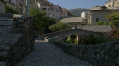 Beautiful paved streets near the Crooked Bridge in Mostar, Bosnia-Herzegovina Stock Footage