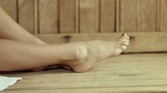 Beautiful Woman's Bare Feet in The sauna Stock Footage