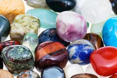 handful of various gem stones close up - stock photo