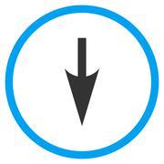 Sharp Down Arrow Icon - stock illustration