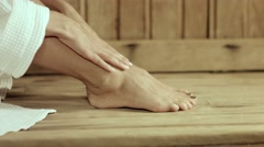 Beautiful Woman's Bare Feet in The sauna Stock Footage