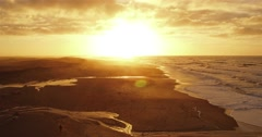 aerial view of klitmoeller in the sunset - stock footage