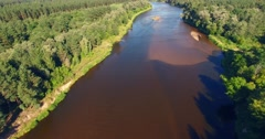 Flight over the forest river Stock Footage