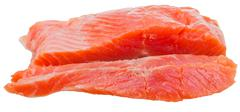side view of sliced slightly salted trout red fish - stock photo
