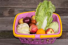 basket, plastic, nutritional, retail,  drink, products, consumable, goods, full, - stock photo