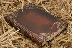 Stock Photo of The book on hay .World reli