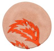 top view of female felt beret with ornament - stock photo