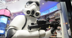 Stormtroopers Soldier Holding A Laser Gun In An Illuminated Showcase - stock footage