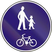 Road sign used in Slovakia - Mixed route for pedestrians and cyclists Stock Illustration